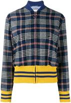 Gucci embroidered back tweed bomber jacket