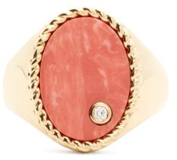 Yvonne Léon Diamond, Coral & Gold Signet Ring - Orange Multi