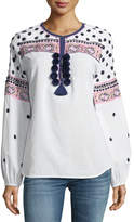 Figue Savanah Long-Sleeve Embroidered Cotton Blouse w/ Pompom Trim