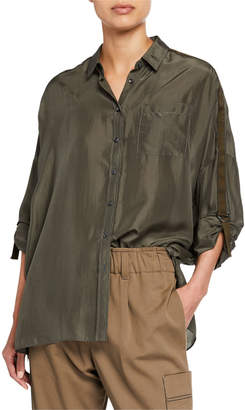 Brunello Cucinelli Oversized Satin Button-Front Tab-Sleeve Shirt