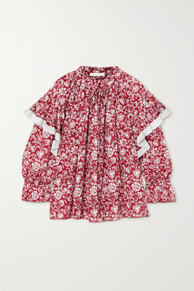 See by Chloe Ruffled Broderie Anglaise-trimmed Floral-print Cotton Blouse - Red