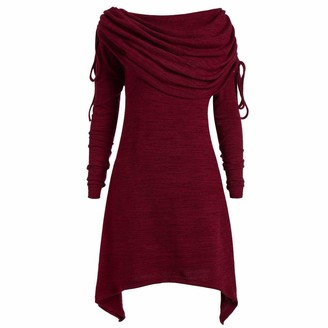 Kalorywee Winter Sale Clearance 2018 Plus Size Womens Fashion Solid Ruched Long Foldover Collar Tunic Top Blouse Tops Red
