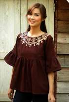 Brown Cotton Blouse, 'Chocolate Chic'