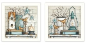 """Trendy Décor 4U Mary's Country Shelf Collection By Mary June, Printed Wall Art, Ready to hang, White Frame, 28"""" x 14"""""""