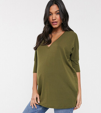 Asos DESIGN Maternity oversized top with v-neck in drapey rib in khaki