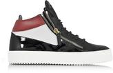 Giuseppe Zanotti Kriss Mid-Top Color Block Leather Men's Sneaker w/Red Logo