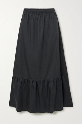 Atlantique Ascoli Tiered Cotton-poplin Midi Skirt - Black
