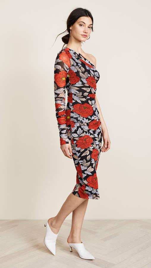 Diane von Furstenberg One Shoulder Ruched Dress