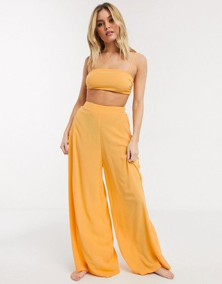 ASOS DESIGN mix and match lace up side wide leg beach trouser in crinkle