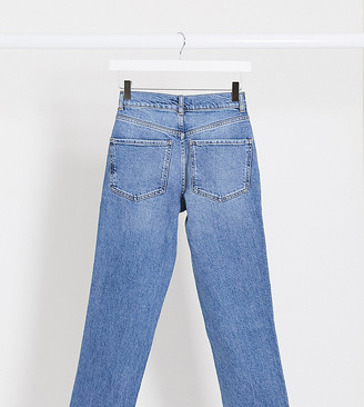ASOS DESIGN Petite high rise stretch 'slim' straight leg jeans in mid vintage wash