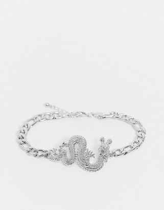 ASOS DESIGN anklet with dragon in silver tone