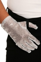 White Silver Sequined Glove