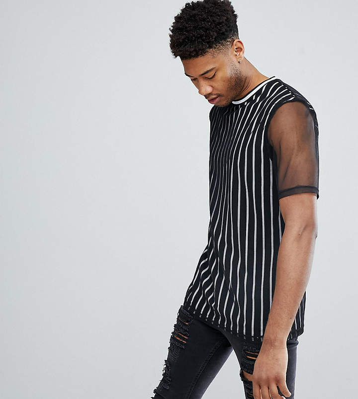 Asos Design TALL Relaxed Vertical Stripe T-Shirt With Mesh Double Layer