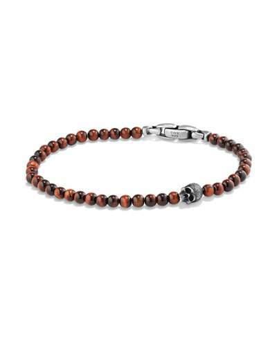 David Yurman Men's Spiritual Beads Skull Bracelet with Red Tiger's Eye