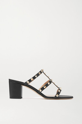 Valentino Garavani Rockstud 60 Leather Mules - Black