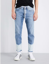 Off-White Sprayed-hem straight-fit cropped jeans