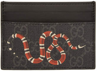 Gucci Black and Grey GG Supreme Kingsnake Card Holder