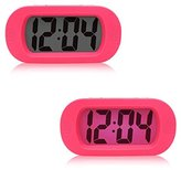 Alarm Clock Digital, Alarm Clock For Kids Bedroom Silicone LED Clock Luminous Electronic Alarm Clock Mute No Bettery, Material ABS+Silicone (Pink)