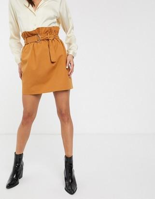 ASOS DESIGN paperbag waist mini skirt with D ring belt