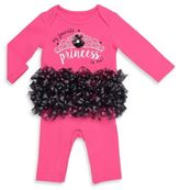 "Baby Starters My Favorite Princess"" Tutu Coverall in Pink/Black"