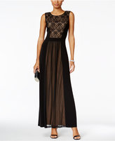 Connected Lace-Inset A-Line Gown