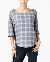 Calvin Klein Jeans High-Low Plaid Top