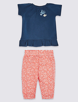 Marks and Spencer 2 Piece Pure Cotton Top & Trousers Outfit