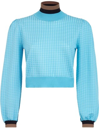 Fendi Balloon Sleeve Check Jumper