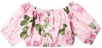 MonnaLisa Cropped Rose Print Cotton Poplin Top