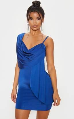 PrettyLittleThing Midnight Blue Metallic Slinky Drape Front Bodycon Dress