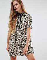 Motel Metis Tie Neck Shirt Dress In Leopard Print