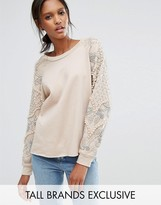 Starry Eyed Tall Sweatshirt With Beaded Shoulder Detail
