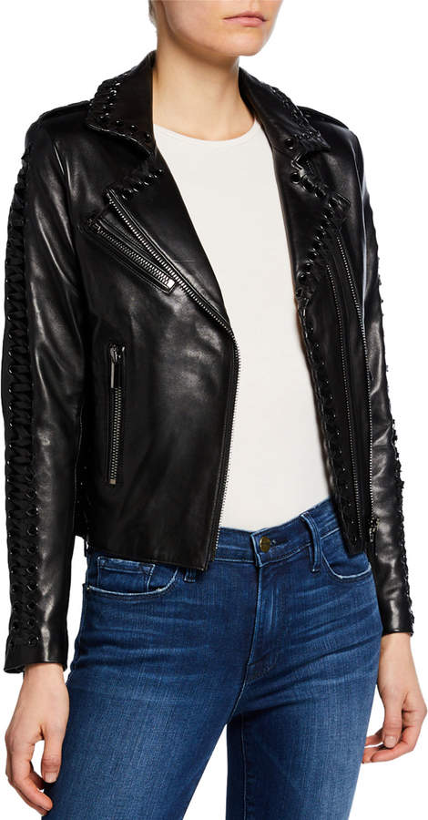 bf51500a5 Vinyl Lace-Up Leather Moto Jacket
