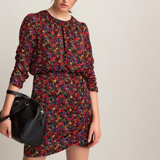 La Redoute Collections Wrapover Bodycon Mini Dress in Floral Print and 3/4 Length Sleeves