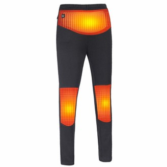 Wisvis Women Heated Tights Ladies Usb Rechargeable Heated Trousers High Waisted Elastic Thick Fleece Pants for Motorcycle Sports