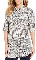 Intro Long Roll-Tab Sleeve Button Front Printed Tunic