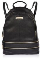 River Island Womens Black leather look zip backpack