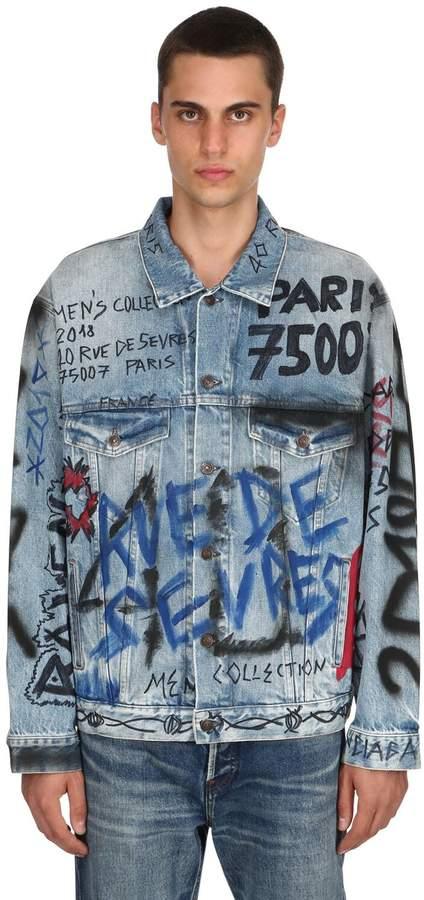 Balenciaga Graffiti Printed Cotton Denim Jacket