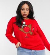 Brave Soul Plus applique christmas sweater