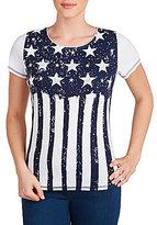 Allison Daley Short Sleeve Starry Stripe Print Embellished Knit Top