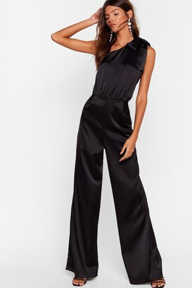 Nasty Gal Womens Bow Above and Beyond Satin Wide-Leg Jumpsuit - Black