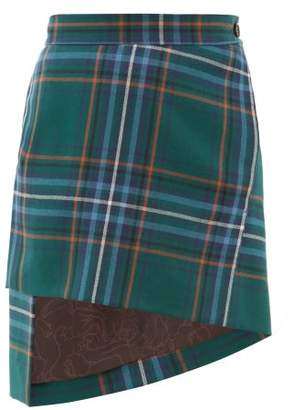Vivienne Westwood Asymmetric Tartan Wool Twill Skirt - Womens - Green Multi