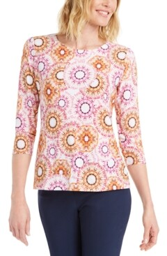 JM Collection Printed 3/4-Sleeve Jacquard Top, Created for Macy's
