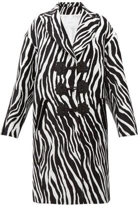 Andrew Gn Zebra-jacquard Evening Coat - White Black