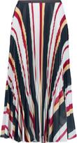 Raoul Pleated printed georgette midi skirt