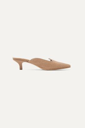 Giuliva Heritage Collection Le Monde Beryl Grosgrain-trimmed Felt Mules - Beige