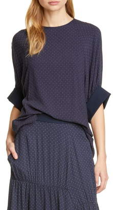 Tibi Pin Dot Shirred Sleeve Blouse