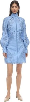 Zimmermann Linen Poplin Lace Mini Dress