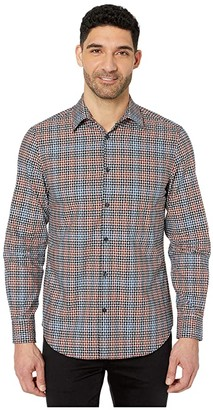Perry Ellis Dobby Multicolor Check Long Sleeve Button-Down Shirt (Dark Sapphire) Men's Clothing