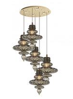 Heathfield & Co Basilica Round 5 Light Brass Pendant Light